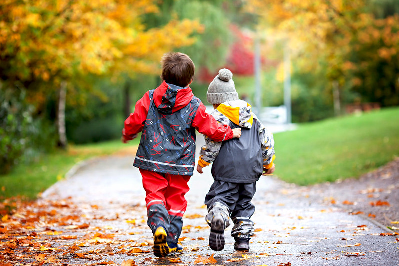 Boys walking in the autumn this weekend