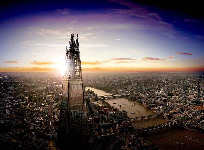 The Shard in front of a sunrise in London.