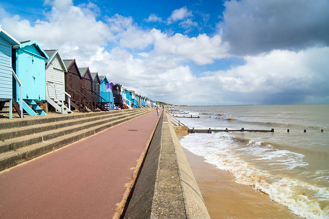 Colourful beach huts on Frinton-On-Sea