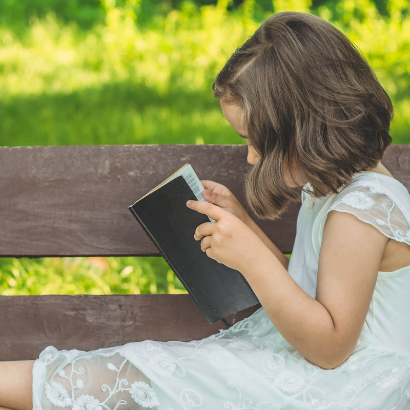 girl reading on the bench