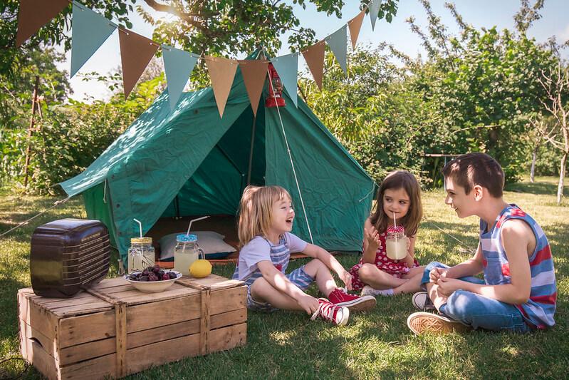 Kids camping and enjoying Glastonbury at home