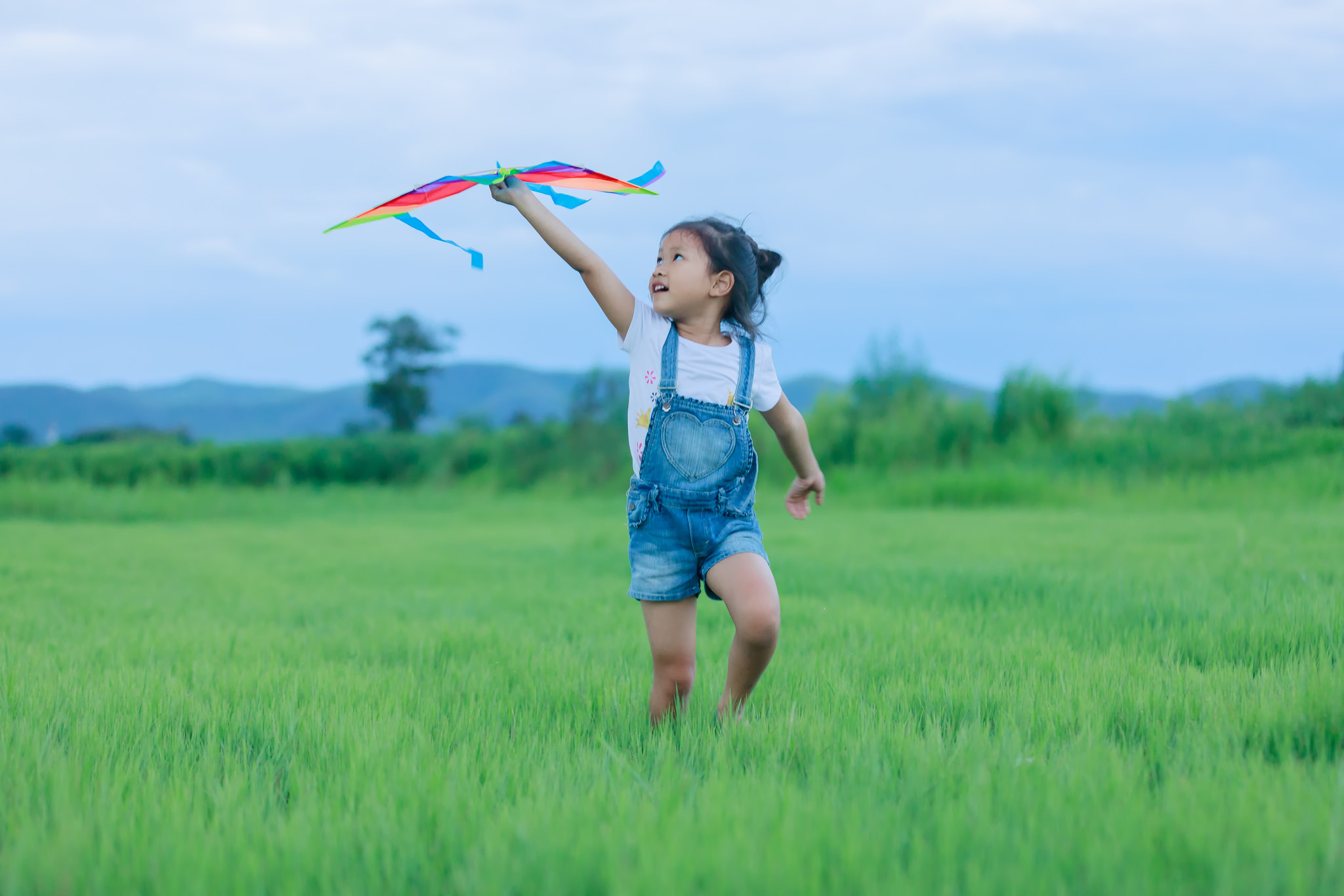 Child in a field enjoying a kids festival