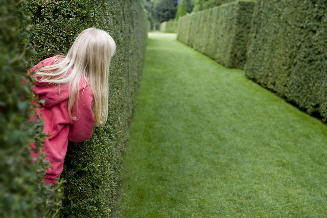 Young girl with blonde hair scoping out her next move in a grass maze