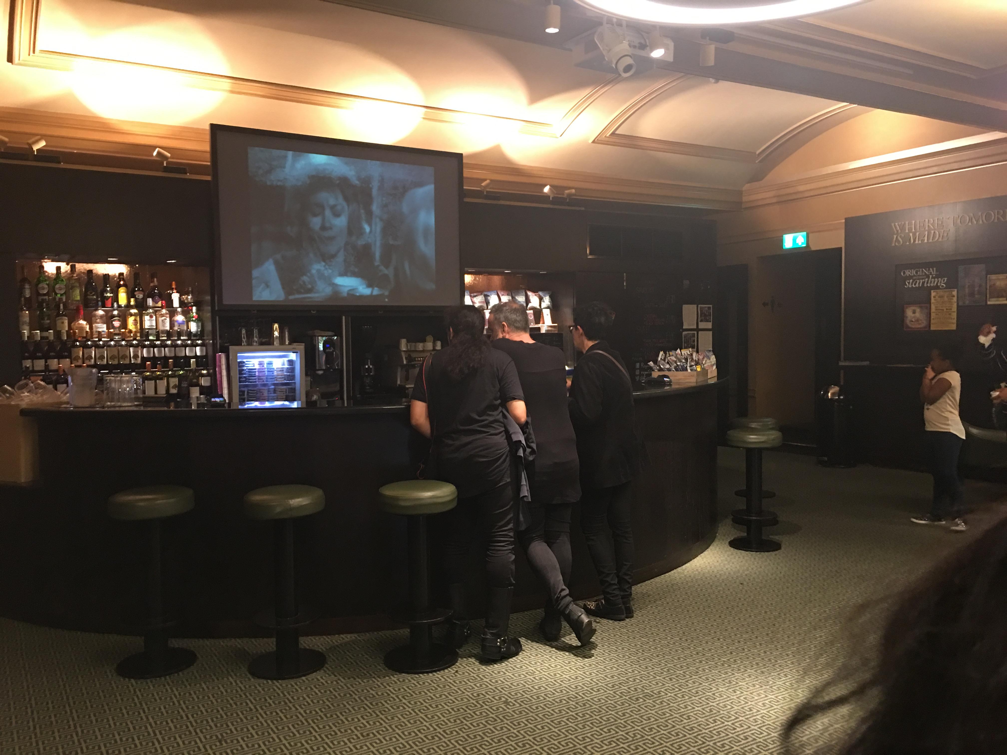 film playing at the cinema bar