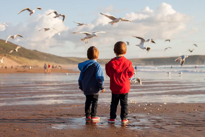 Kids at the seaside