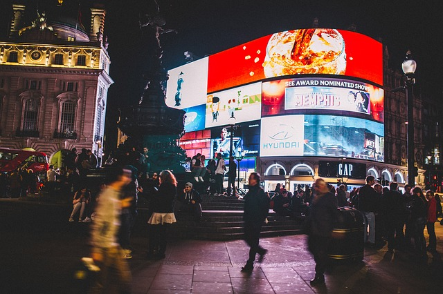 the bright lights and bustling crowds around Piccadilly Circus