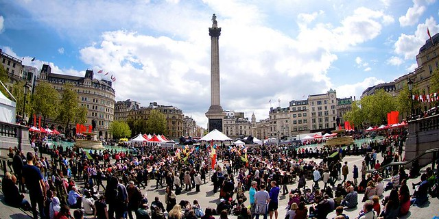 Trafalgar Square with lots of people and stalls