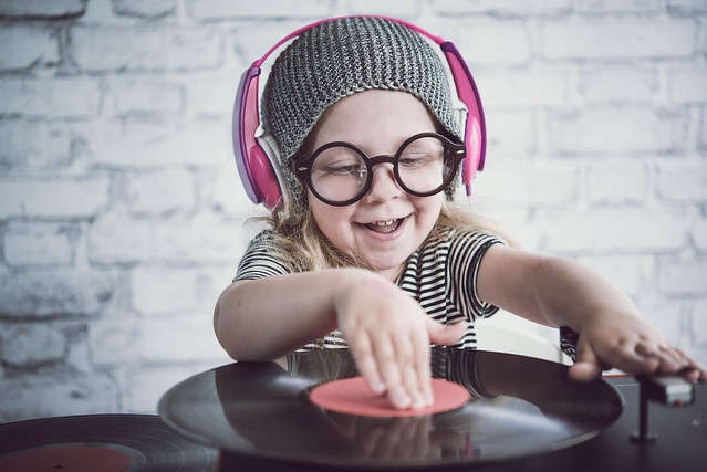 Child pretending to DJ