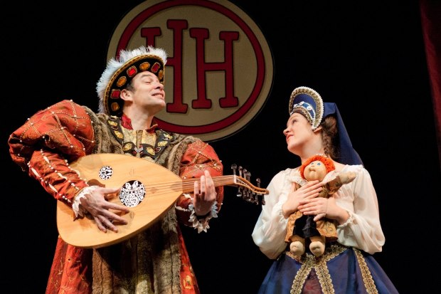 Anne Boleyn and Henry VIII performing in Horrible Histories Barmy Britain