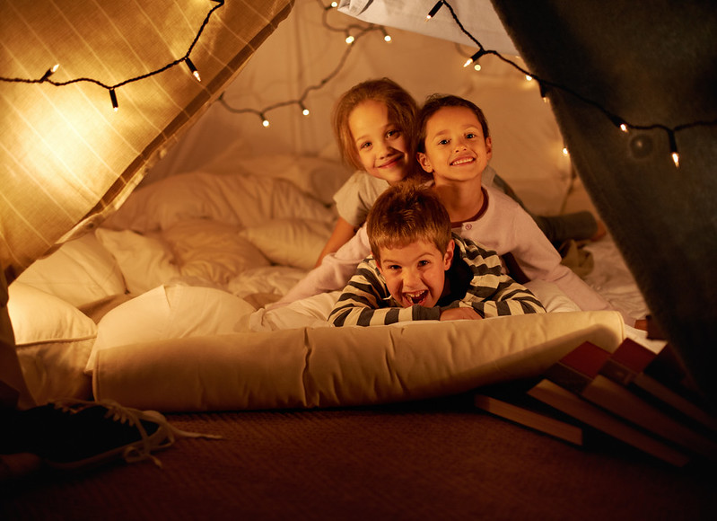Making an indoor fort with the kids is a fun and cosy activity.