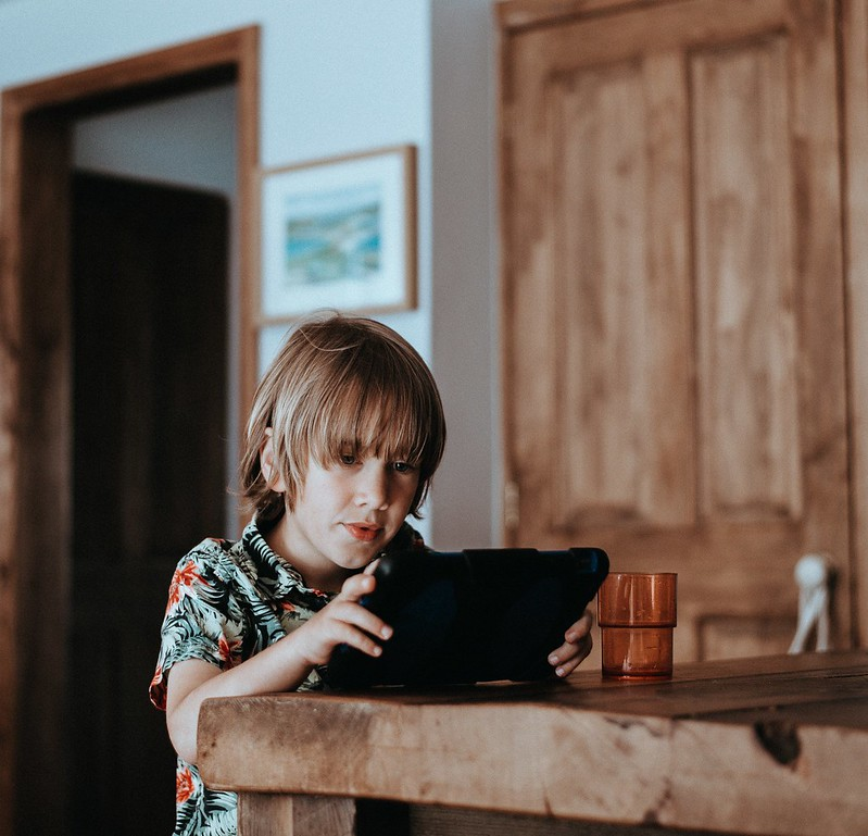 boy using tablet