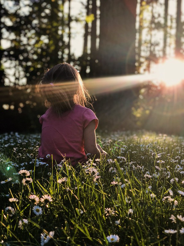 Young girl relaxing in a field of flowers.