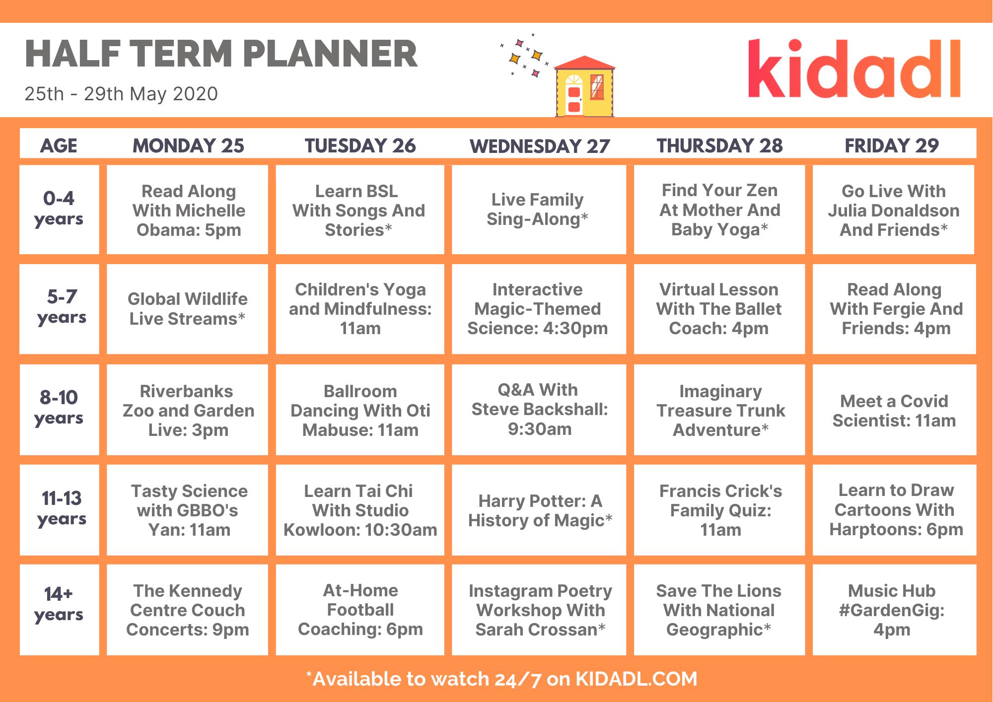 half term planner