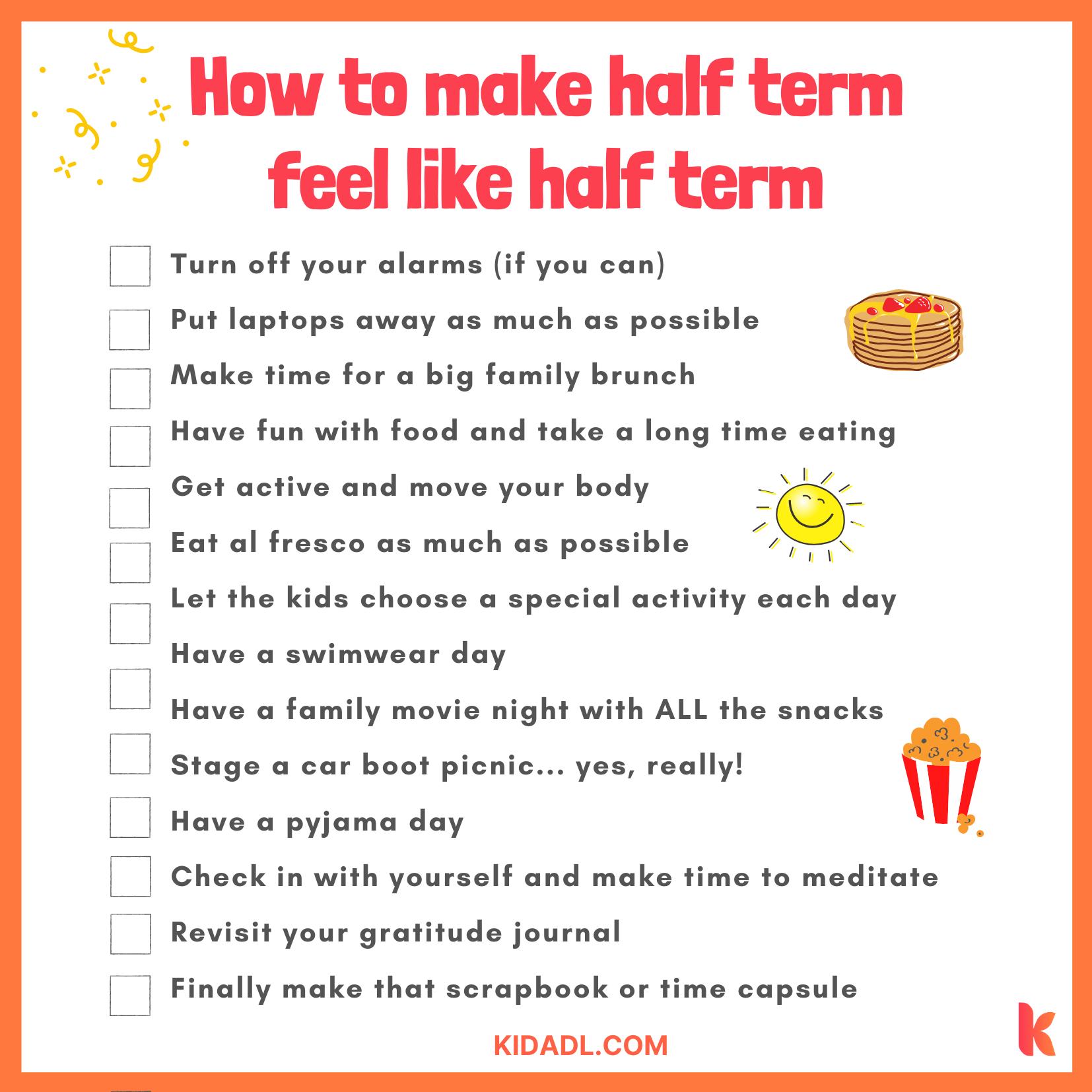 lockdown half term checklist