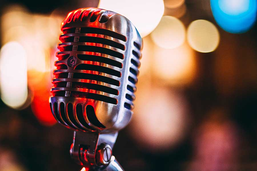 microphone in front of soft focus background