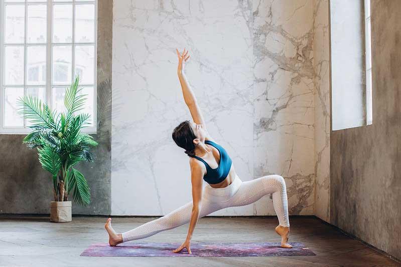 A teenager doing yoga