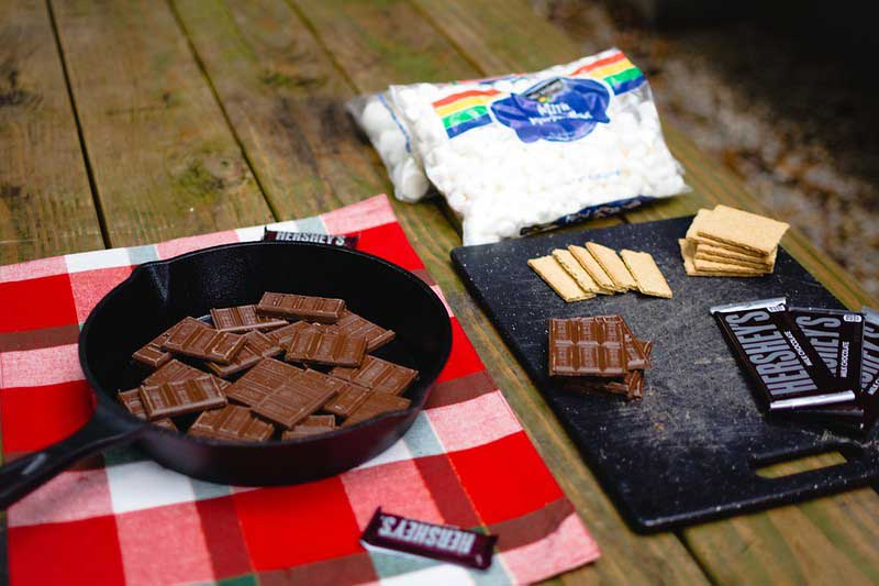 At set-up for making s'mores
