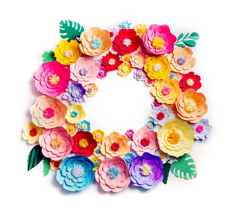 3D Paper Flower Wreath