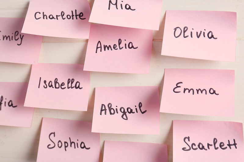 Pink post-it notes suggesting chic old lady names.