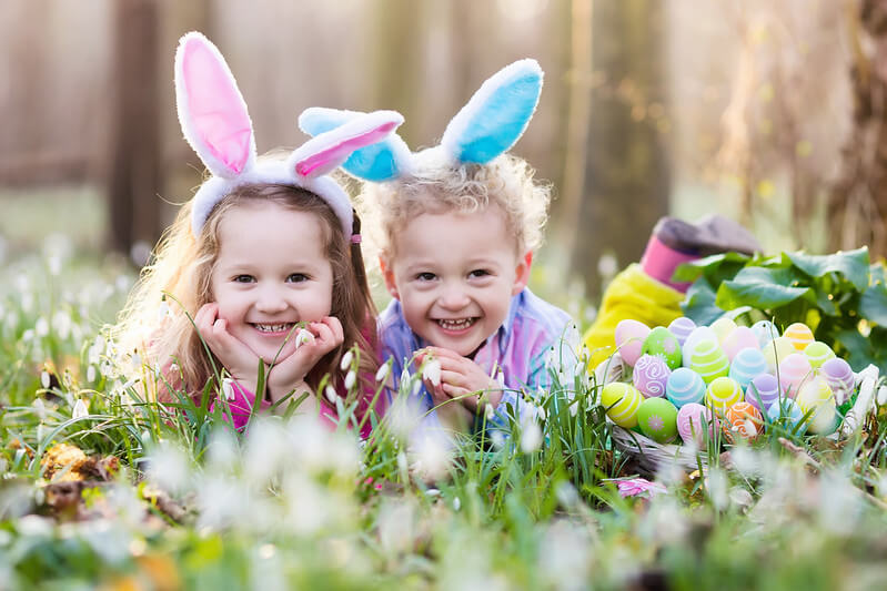 Two little girls dressed as the Easter Bunny.