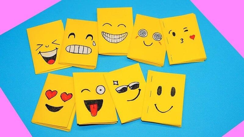 Emoji Craft Notebooks for school, fun emoji crafts