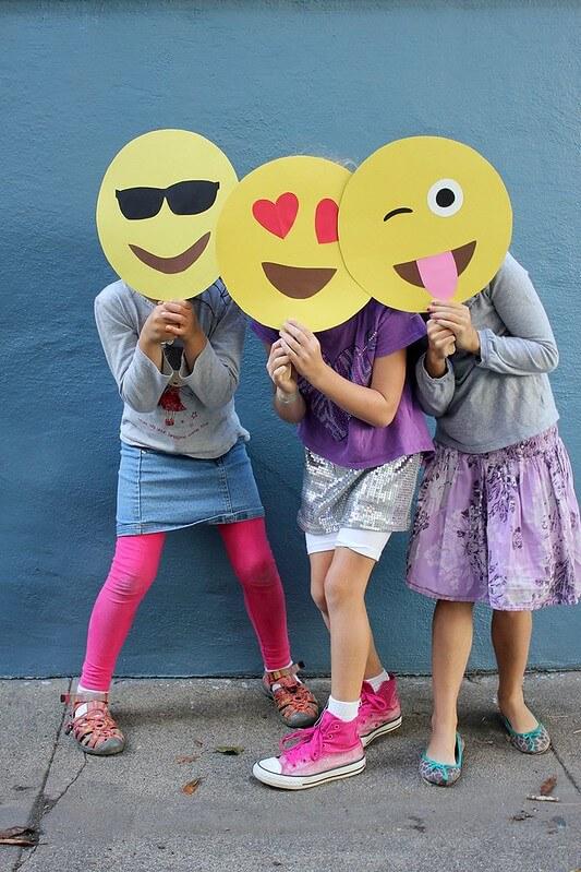 emoji masks to use with your friend, fun emoji crafts