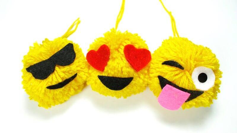 emoji pom-poms to decorate with, fun emoji crafts