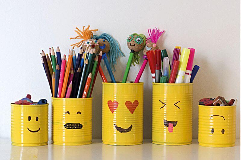 emoji pencil holders, a fun emoji craft