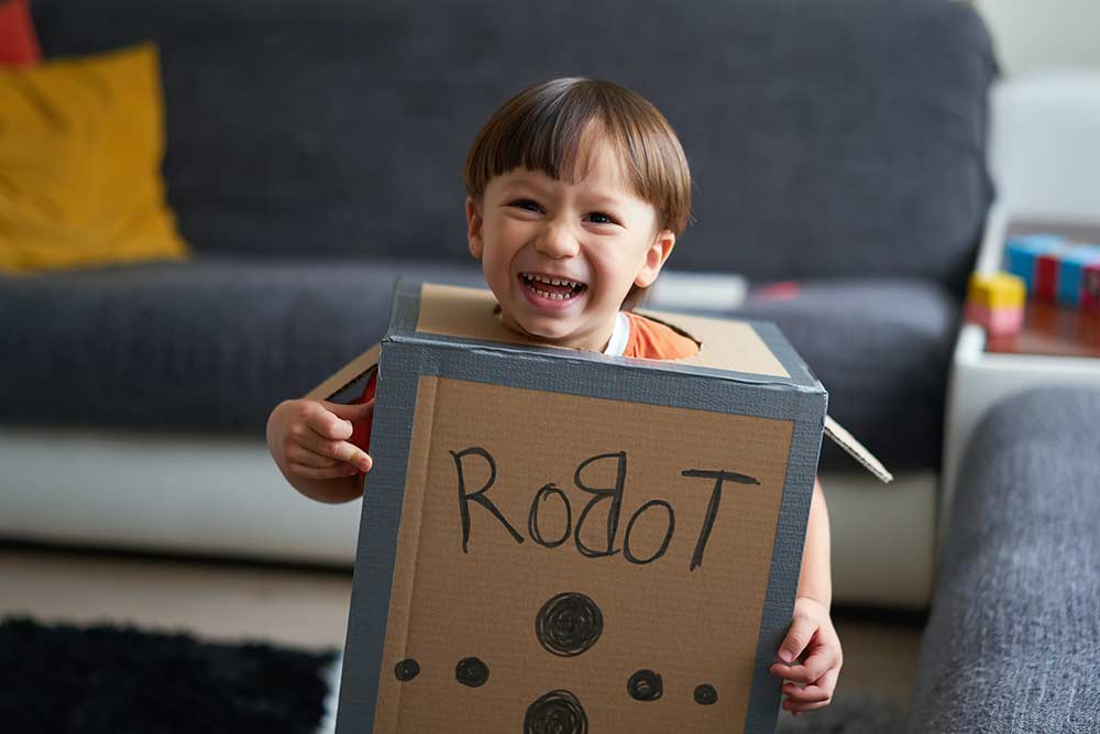 young boy in homemade robot costume