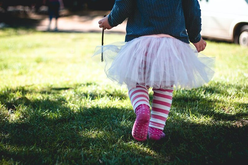 Toddler playing during Glastonbury at home