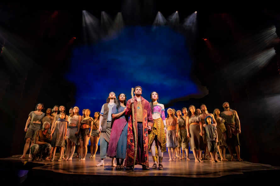 The whole cast of The Prince of Egypt musical on stage.
