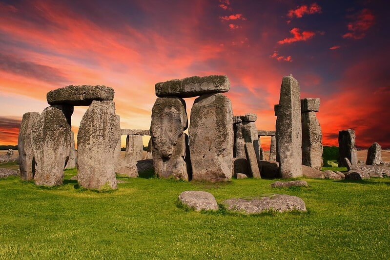 Sunset over Stonehenge, Wiltshire