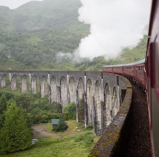 Harry Potter Train Going Over Viaduct