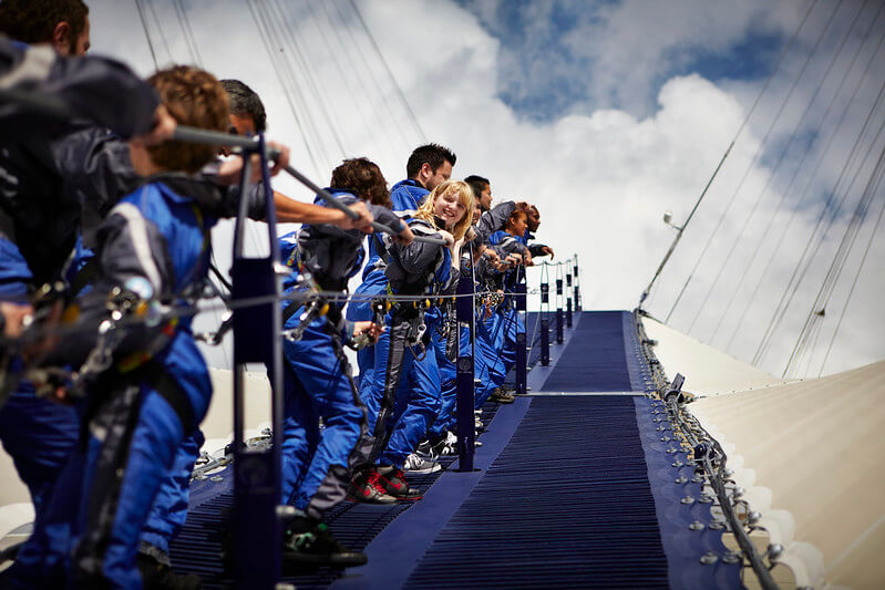 line of people climbing the O2 Arena