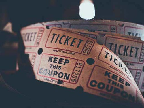 A ticket roll for the drive-in cinema