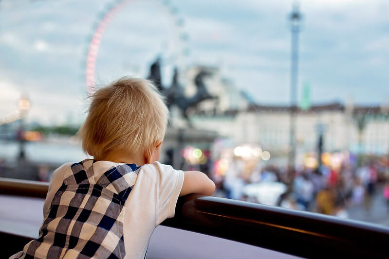 Toddler looking at London