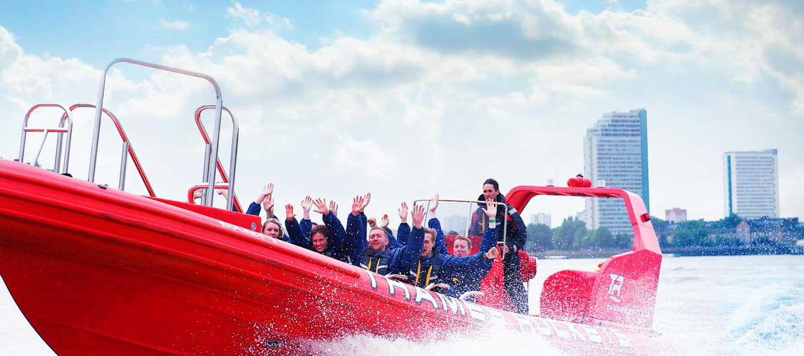 Group on a Thames Rockets speedboat tour.