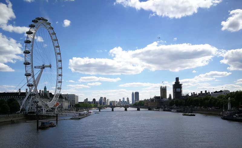 View of the River Thames looking out at the London Eye and the Houses of Parliament from Hungerford Bridge.