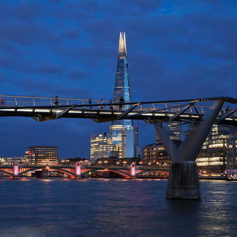 View of The Shard from the River Thames at night.