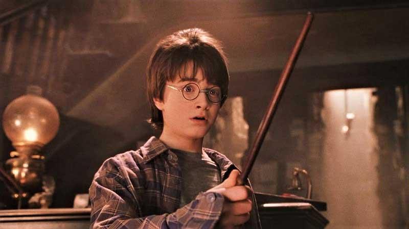 Harry Potter in Ollivander's wand shop.