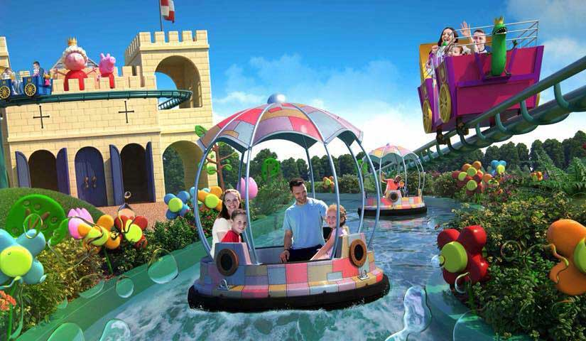 Family on a ride at Peppa Pig World.