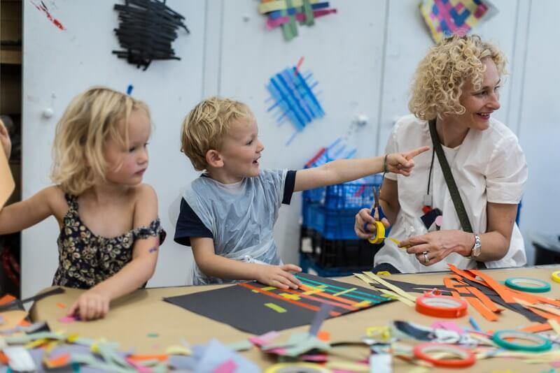 children at art class