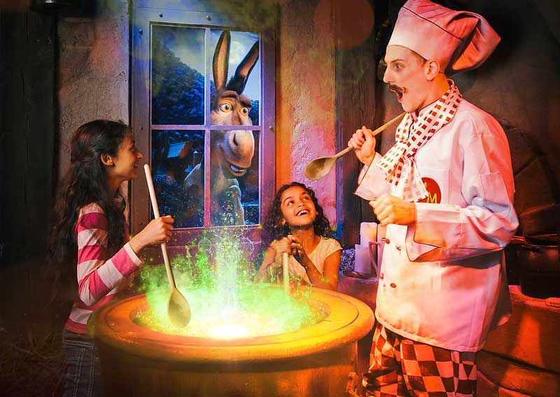 two children with character at shrek's adventure