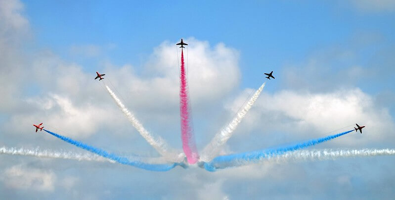 The Red Arrows, typical inspiration for airplane jokes