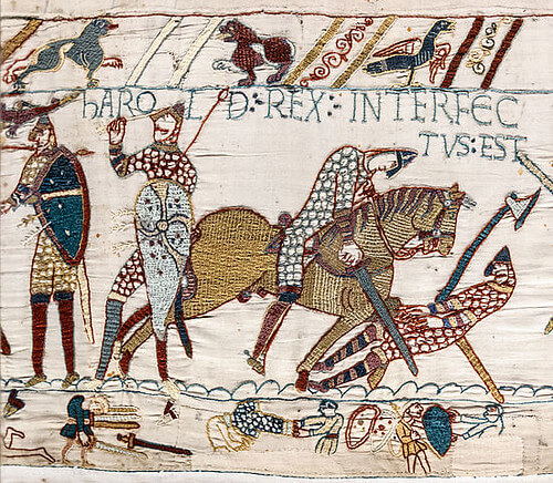 Harold getting an arrow in the eye at the battle of hastings for kids to understand