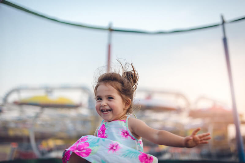 toddler at trampoline park