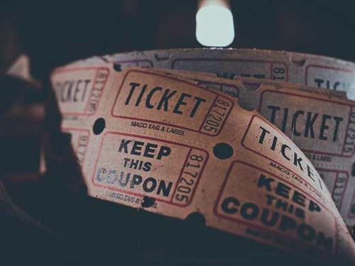Vintage ticket reel from a cinema.