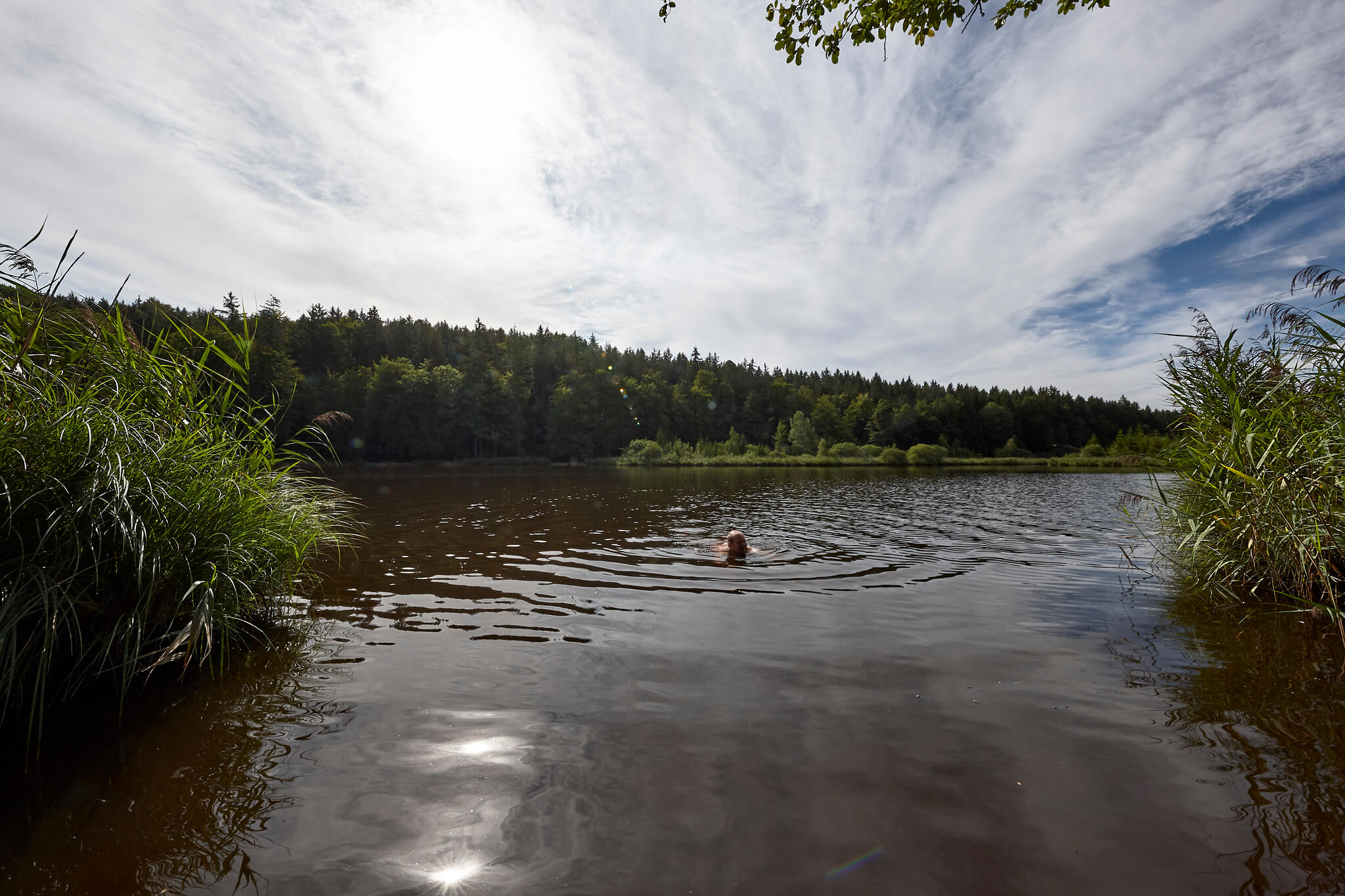 A man participating in wild swimming