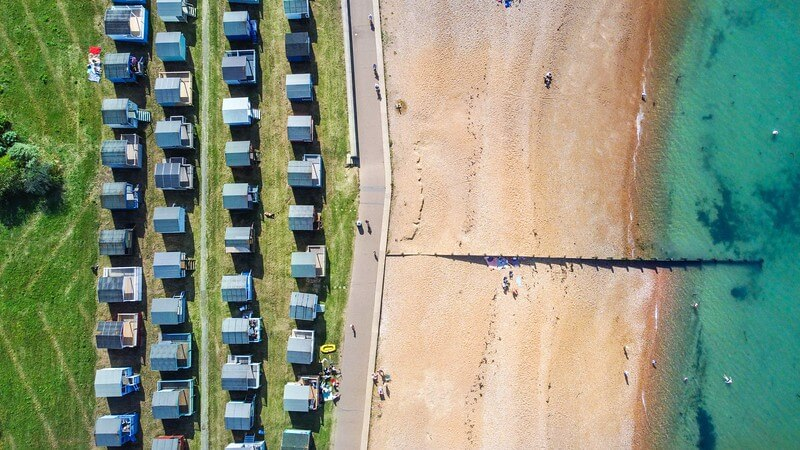 An airview of Whistable seafront