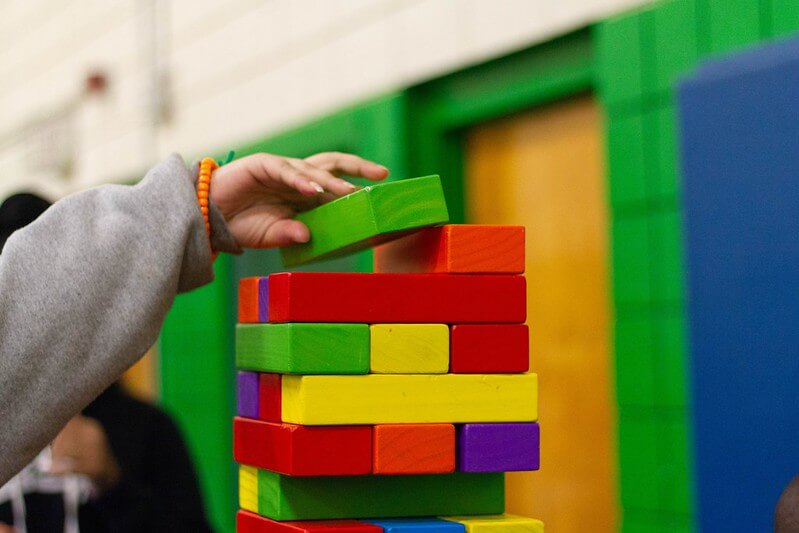 Building a block tower, great block activities for preschool kids